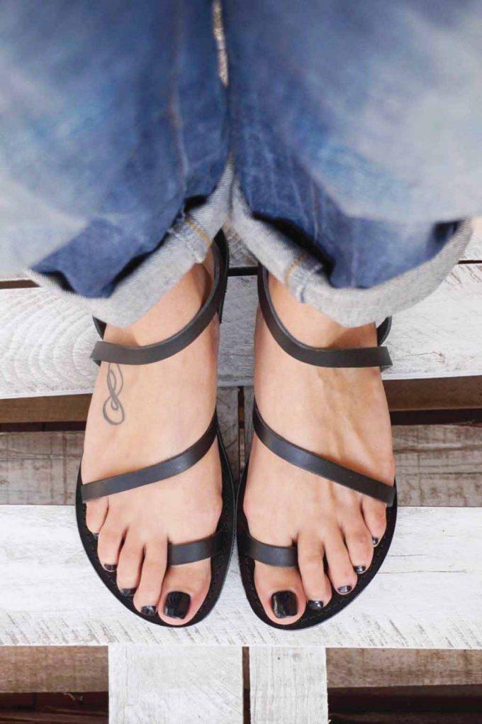 Sandale dama piele naturala FUNKY DAY, negru