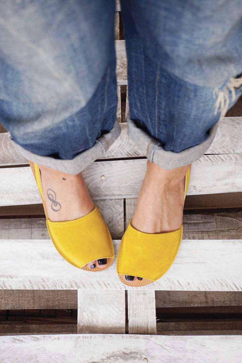 Sandale dama piele naturala FUNKY Q galben   FUNKYFAIN
