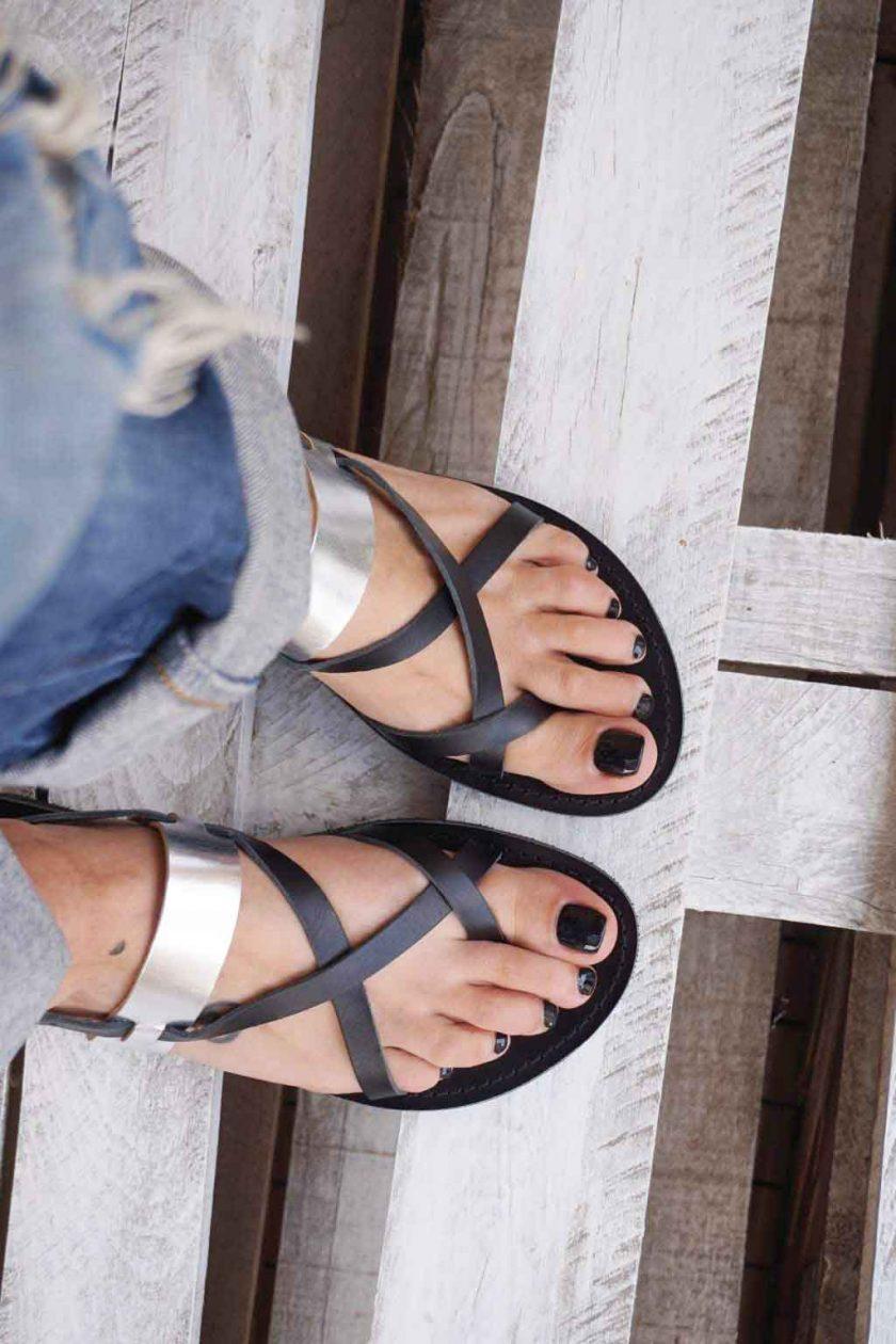 Sandale grecesti FUNKY PEOPLE, negru - argintiu