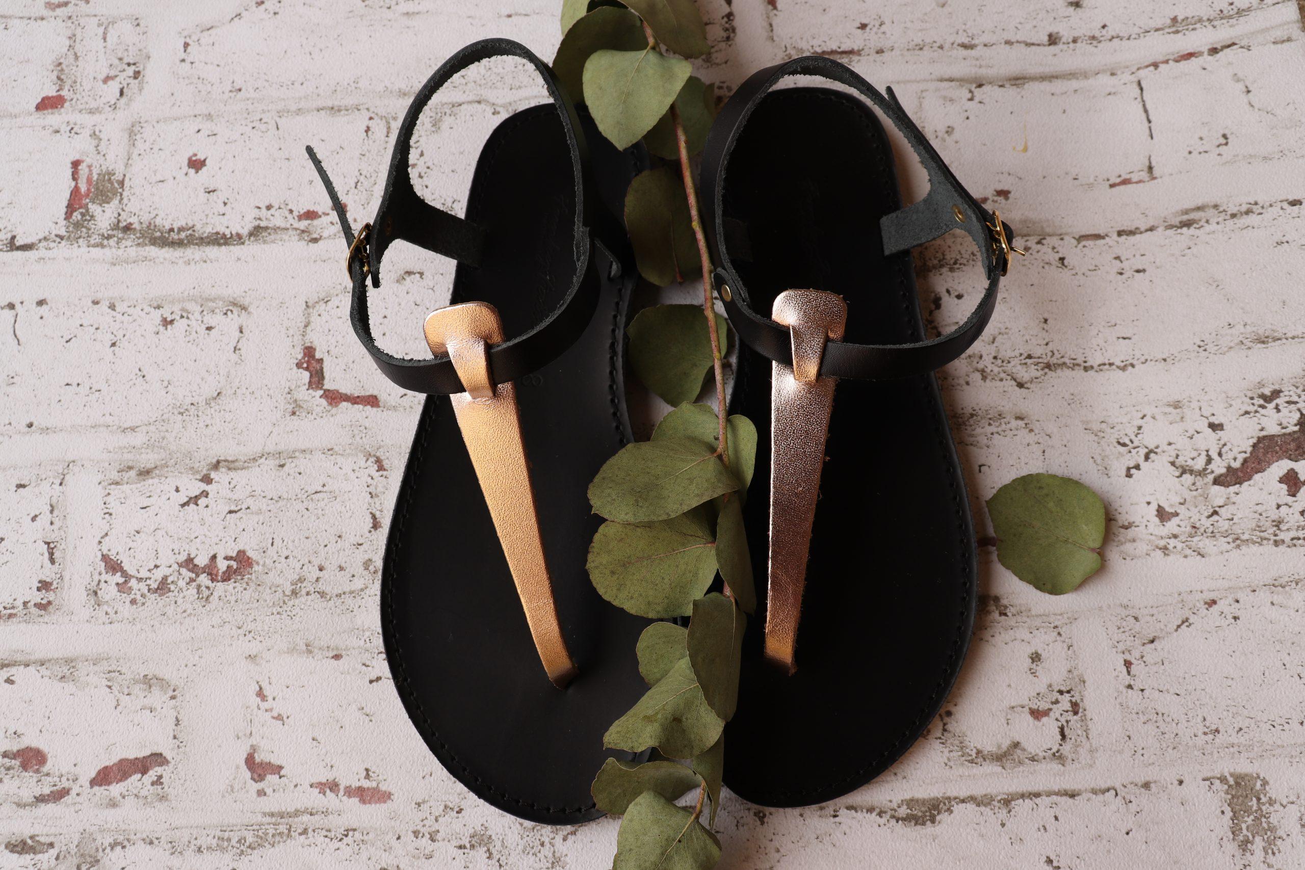 Sandale din piele naturală cu talpă joasă FUNKY ALLNUDE, bronz