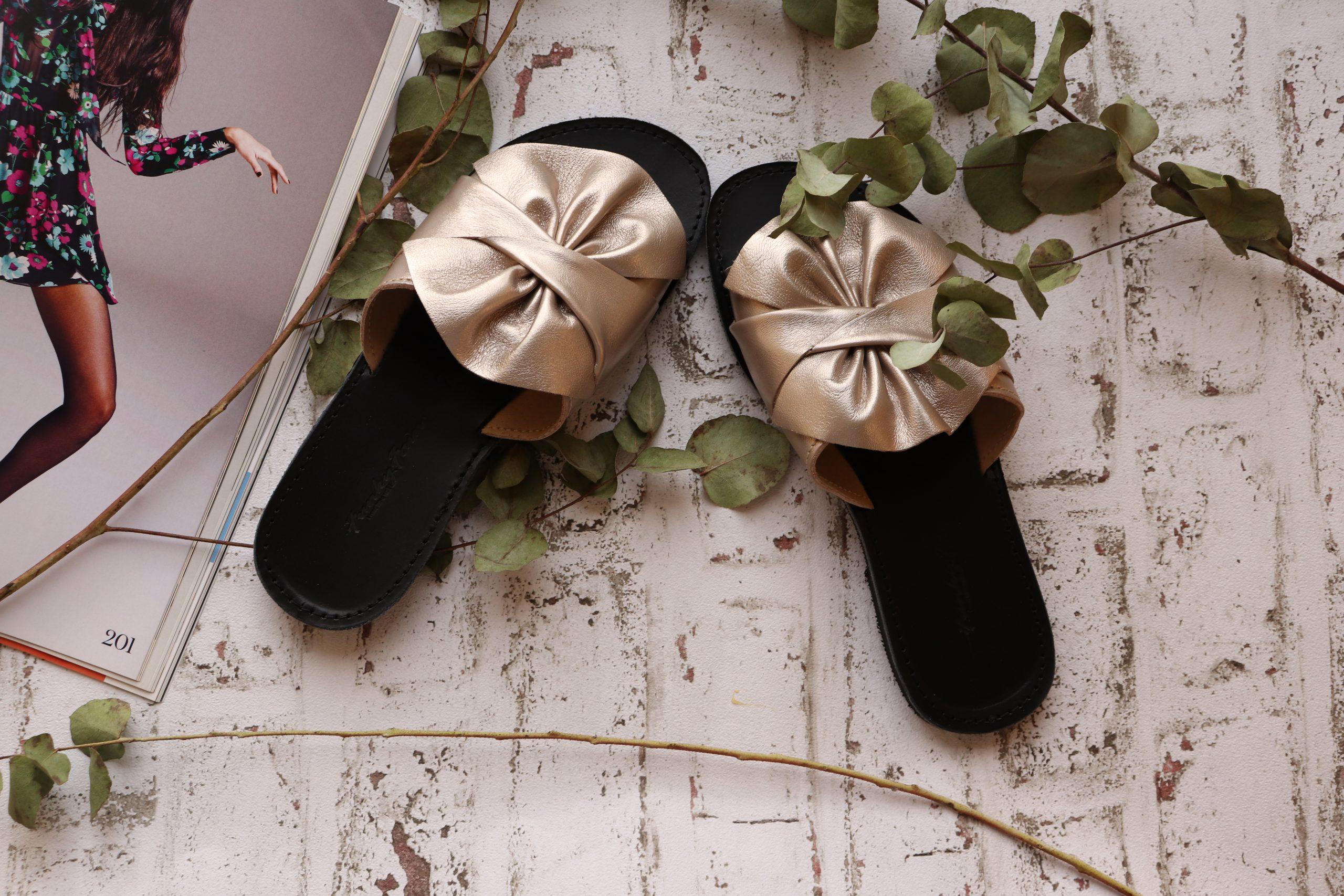 Papuci damă piele naturală FUNKY INSTYLE, grej metalic