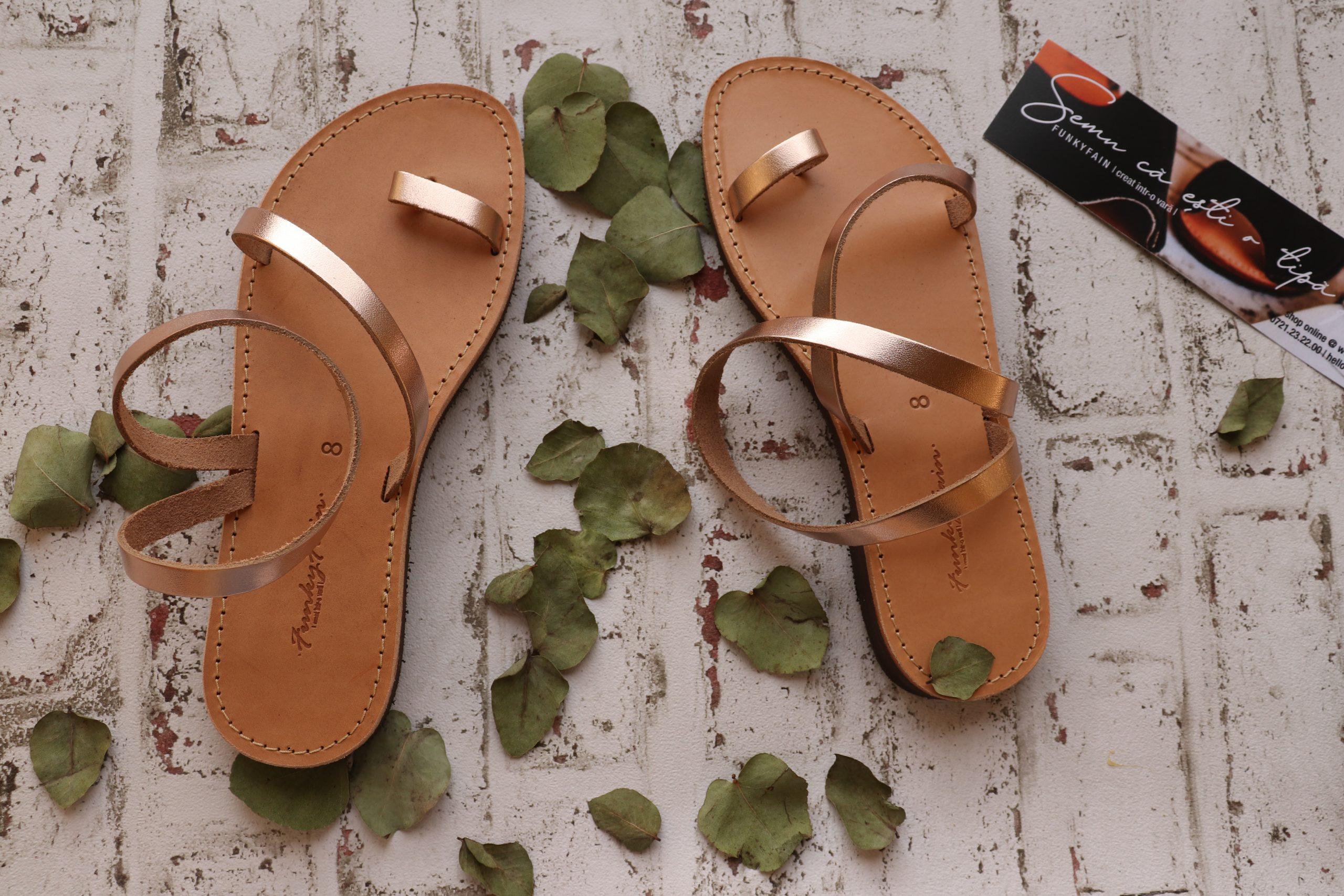 Sandale din piele naturală cu talpă joasă FUNKY DAY, bronz