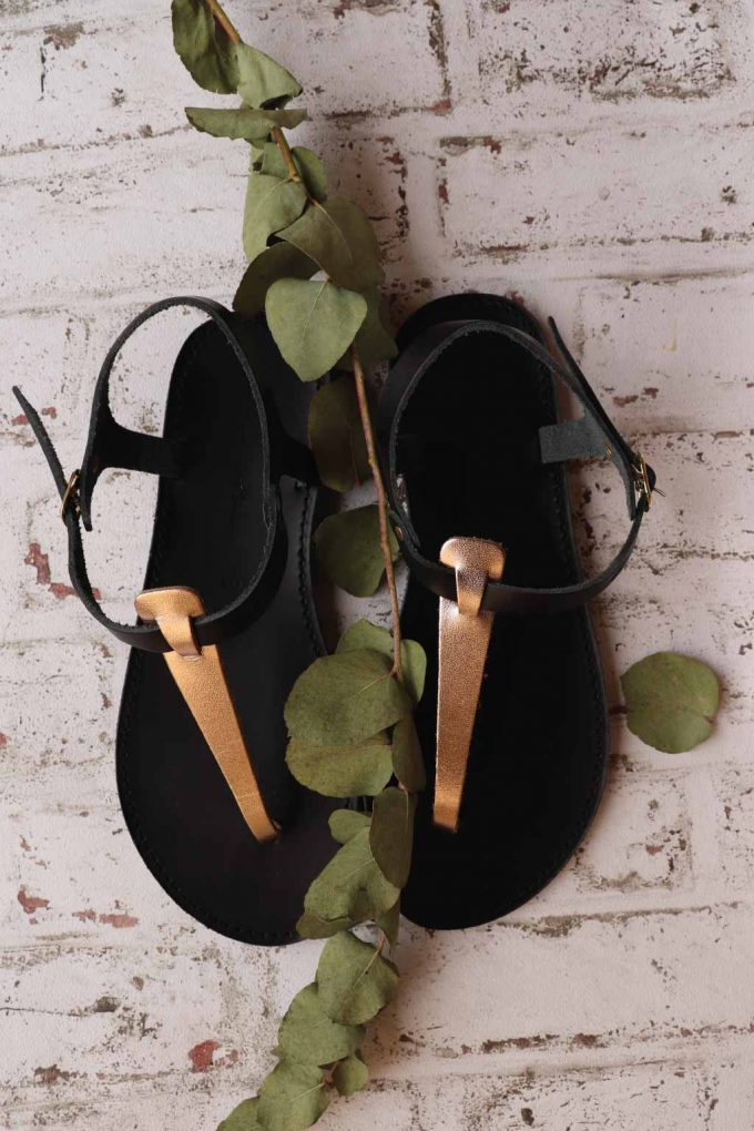 Sandale dama talpa joasa FUNKY ALLNUDE, bronz
