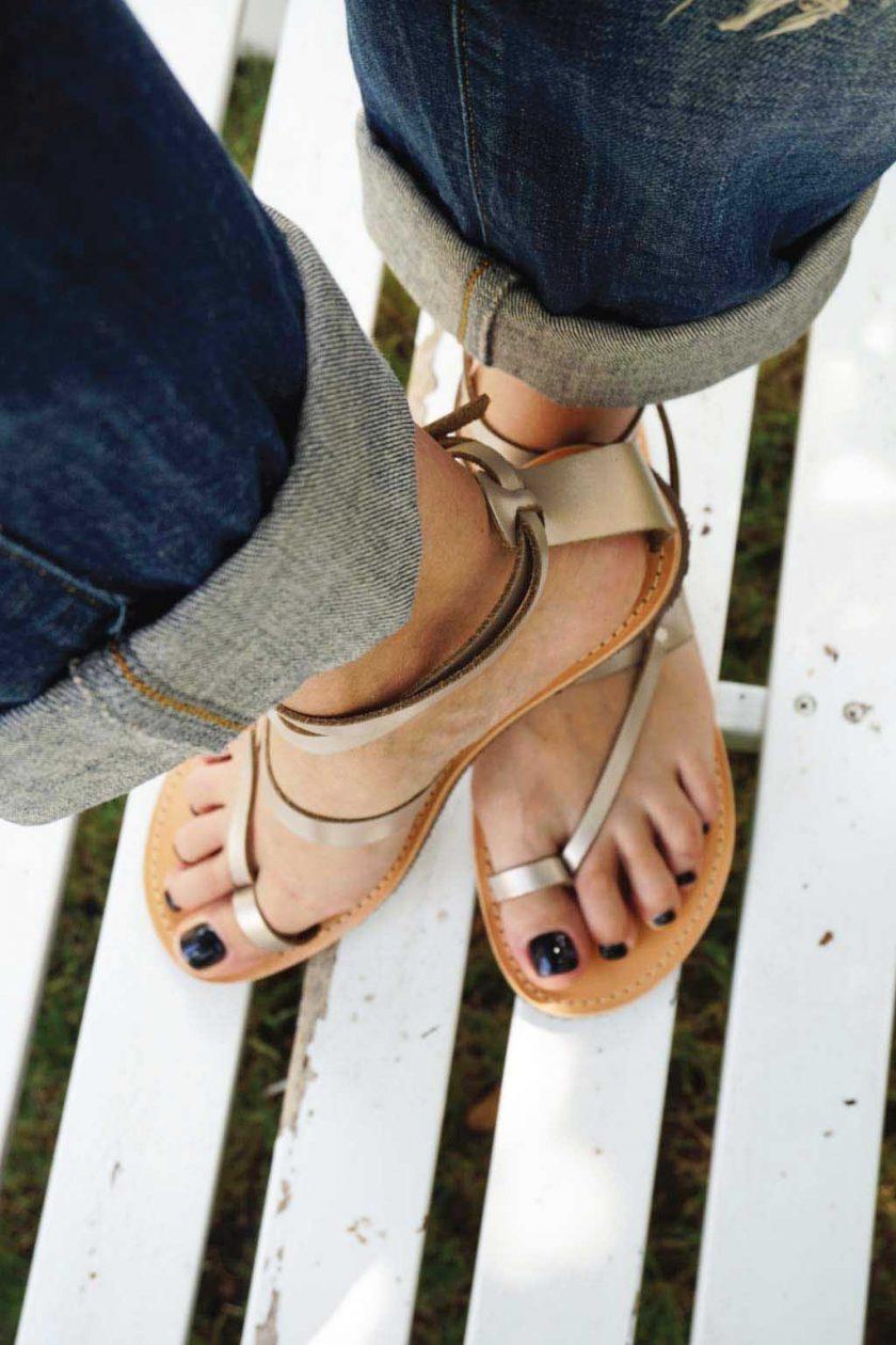Sandale dama piele FUNKY TOUCH, grej metalic