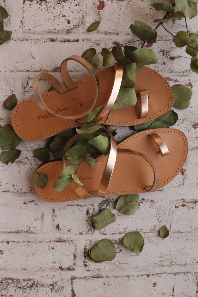 Sandale piele talpa joasa FUNKY DAY, bronz