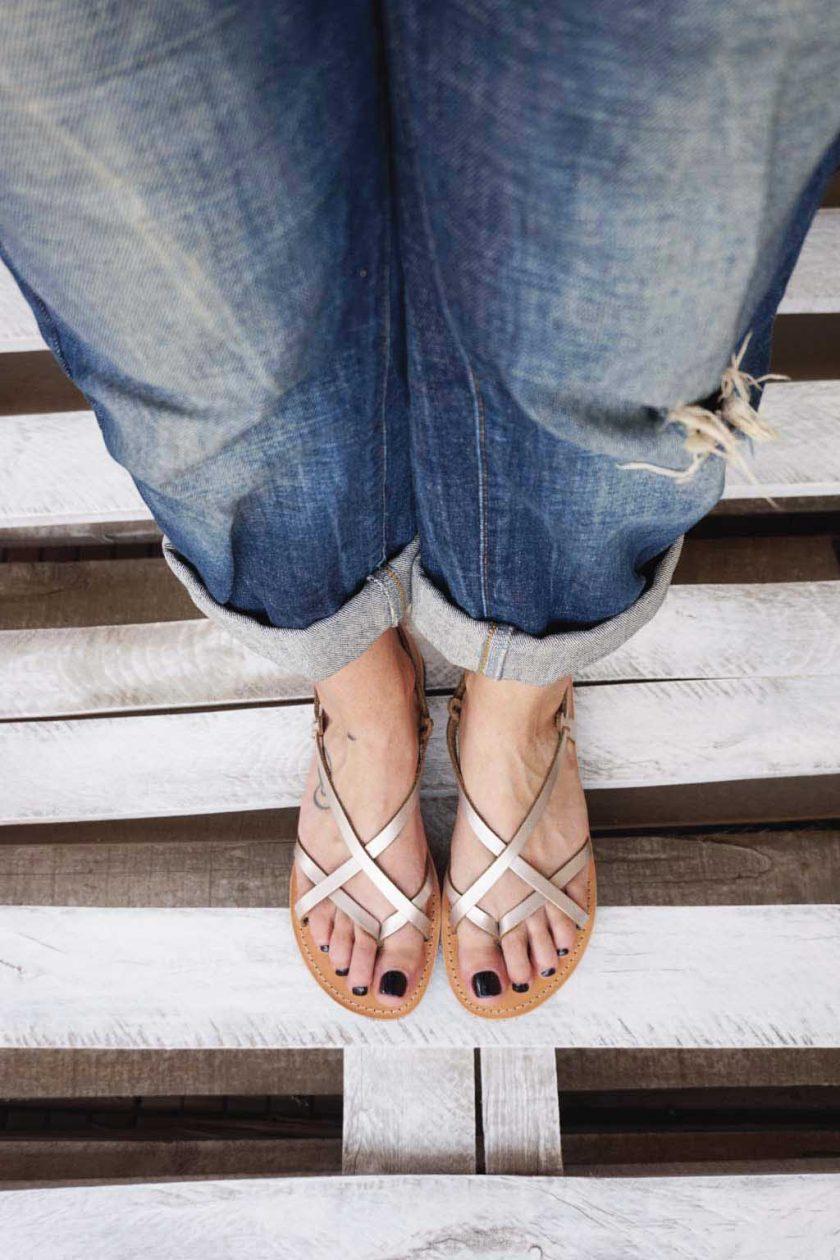 Sandale grecesti FUNKY FEELING, grej metalic