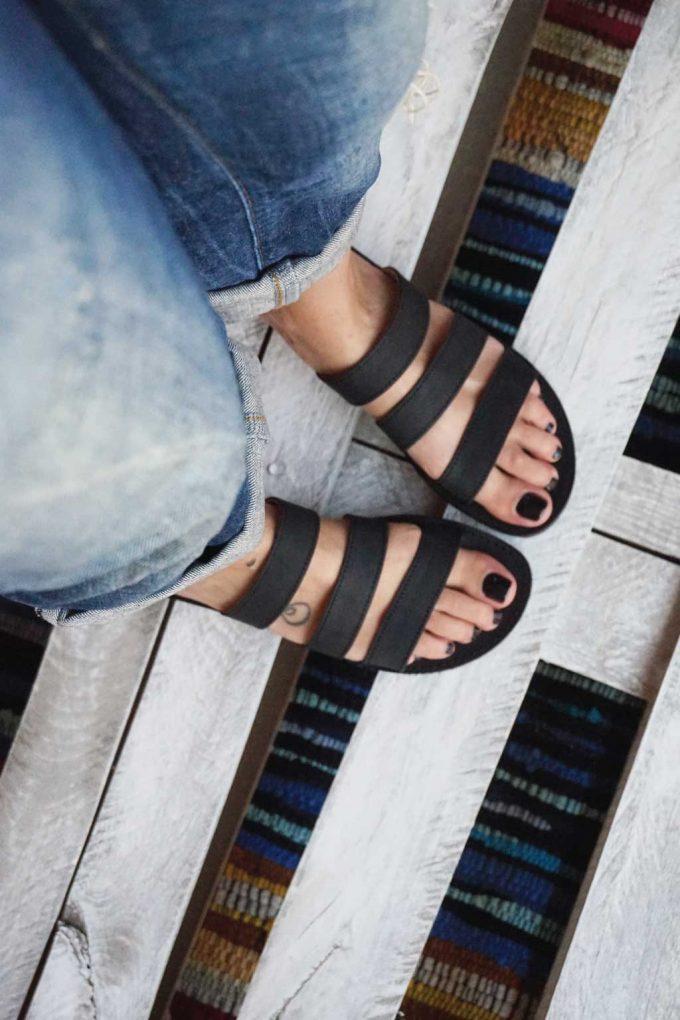 Papuci piele naturală FUNKY MOOD, negru