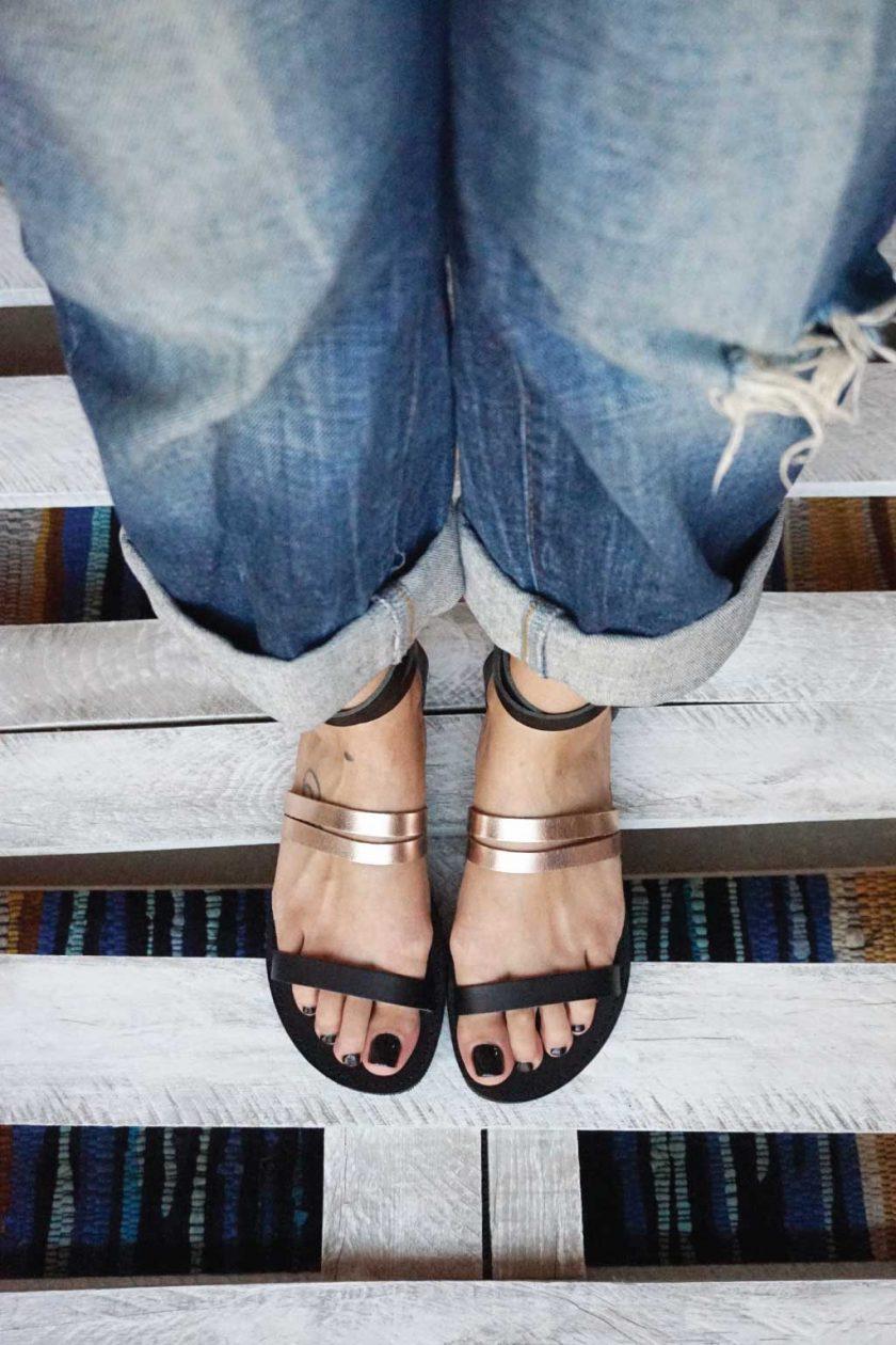 Sandale din piele naturală FUNKY GLAM, bronz